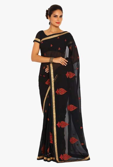 Soch Black Embroidered Chiffon Saree