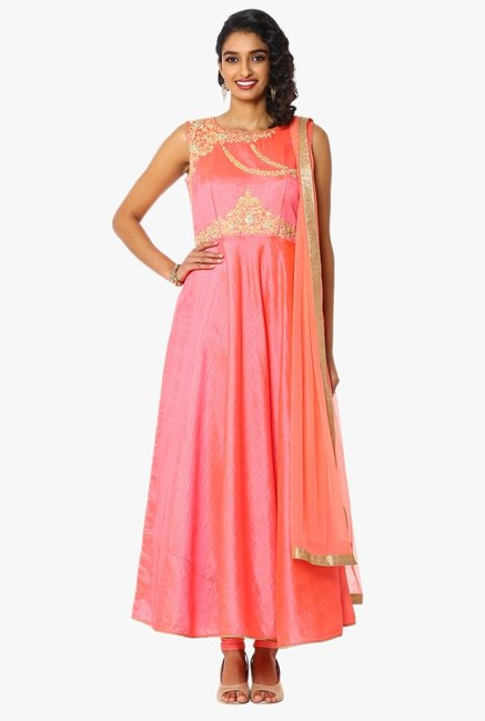 Soch Peach Embroidered Chanderi Anarkali Suit Set