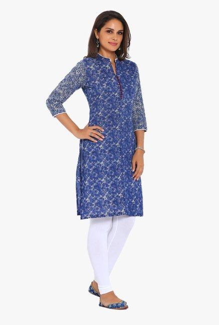 Soch Blue Printed Cotton Kurta