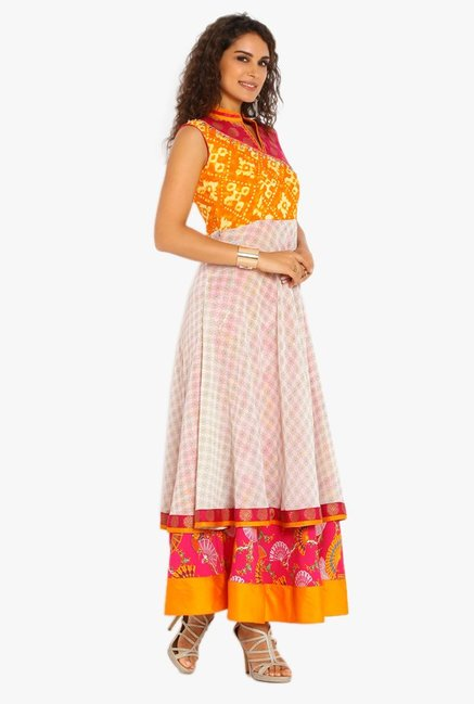 Soch Off White & Pink Printed Cotton Kurta Suit Set