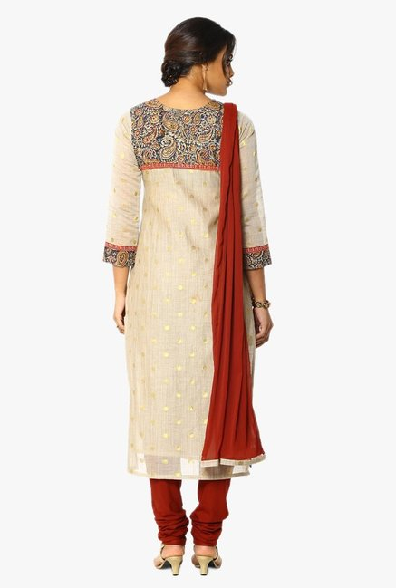 Soch Beige & Maroon Embroidered Chanderi Churidar Suit