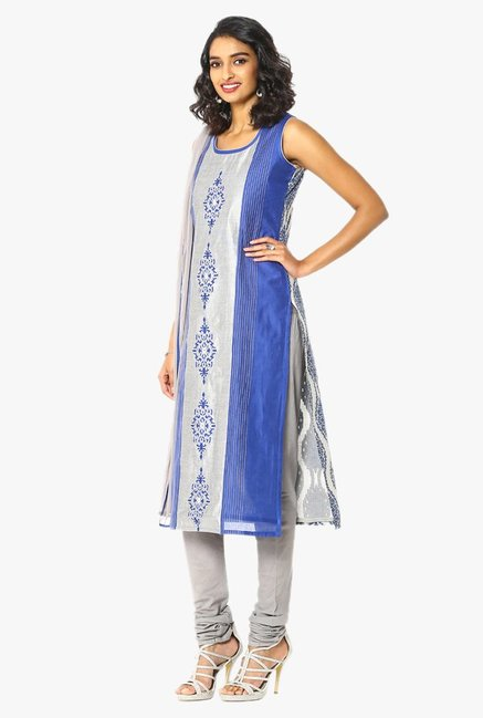 Soch Grey & Blue Embroidered Chanderi Churidar Suit