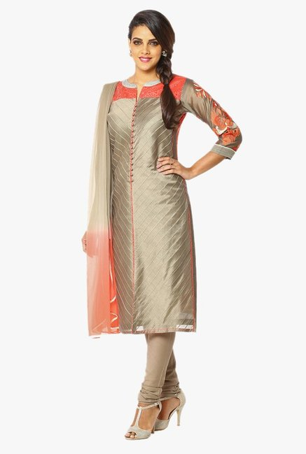 Soch Grey Embroidered Chanderi Churidar Suit