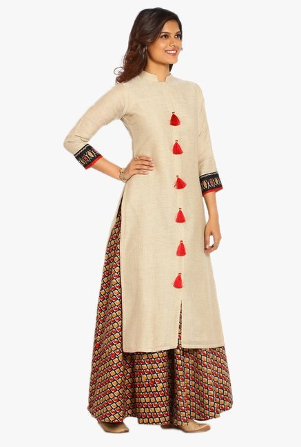 Soch Beige Textured Cotton Jute Kurta Suit Set