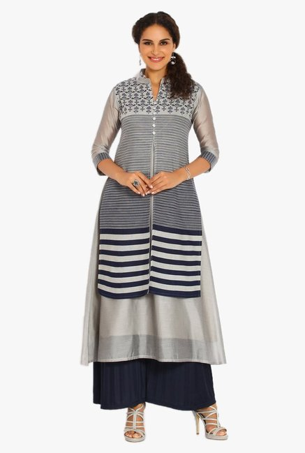 Soch Grey & Navy Striped Cotton Kurta Suit Set