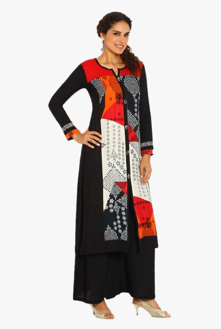 Soch Black & Red Printed Rayon Kurta Suit Set