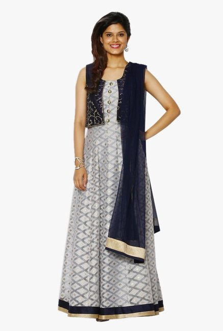 Soch Grey & Navy Printed Net Anarkali Suit With Jacket