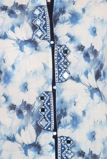 Soch Blue Floral Print Cotton Kurta Suit Set