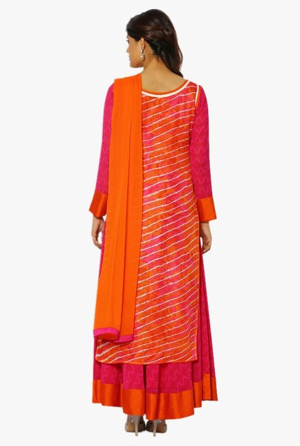 Soch Pink & Orange Printed Georgette A Line Suit Set