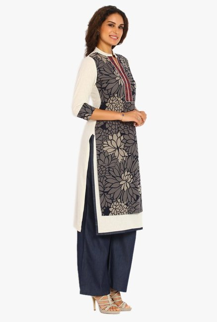 Soch Grey & Navy Cotton Jute Kurta Suit Set