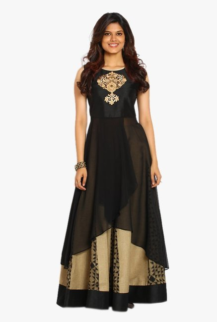 Soch Black & Beige Georgette Kurta With Palazzo Set