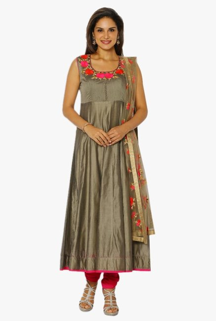 Soch Grey & Pink Chanderi Anarkali Suit Set