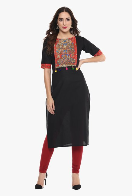 99fe4a2988 Buy Ahalyaa Black Printed Cotton Pom Pom Lace Kurta for Women Online @ Tata  CLiQ