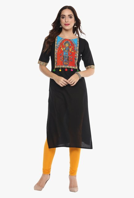 Ahalyaa Black Printed Cotton Pom Pom Lace Kurta