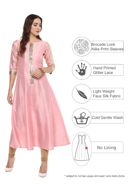 Ahalyaa Light Solid Poly Silk Anarkali Kurta