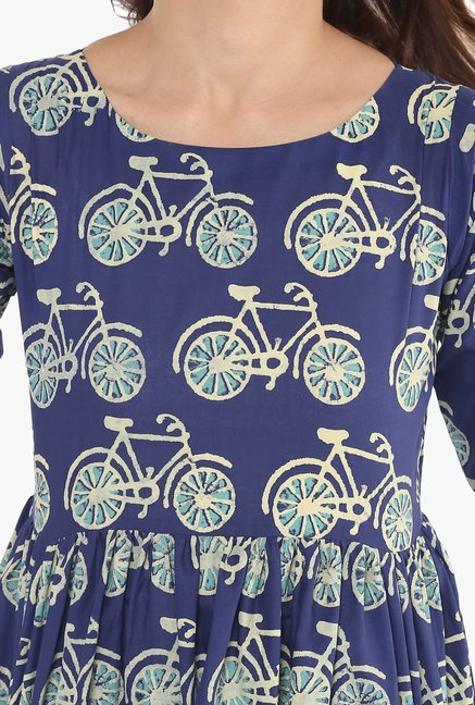 Ahalyaa Navy Printed Cotton Flared Kurta