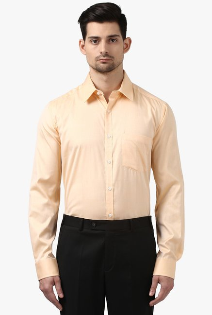 Buy Park Avenue Peach Full Sleeves Cotton Shirt for Men Online   Tata CLiQ 242f3a0a6
