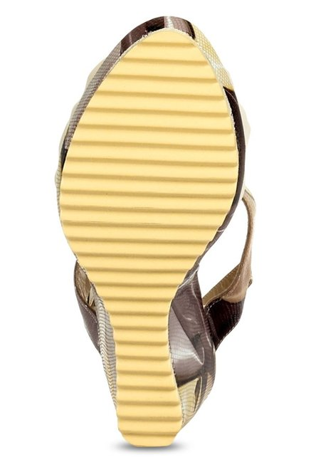 Pavers England Beige & Brown T-Strap Wedges