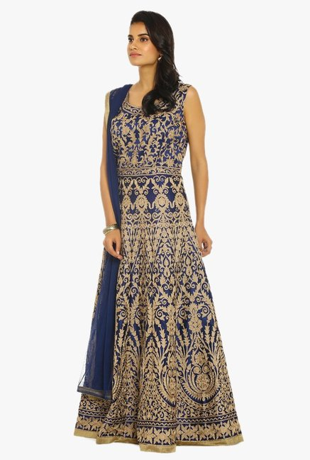 Soch Navy & Gold Embroidered Chanderi Suit Set