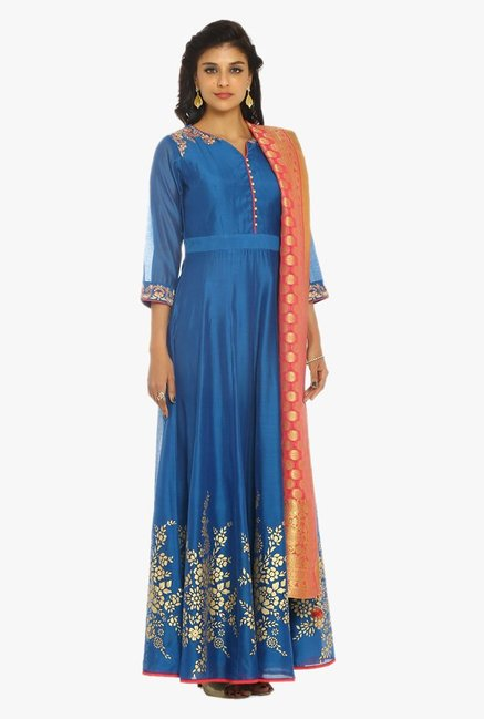 Soch Blue & Pink Embroidered Chanderi Suit Set