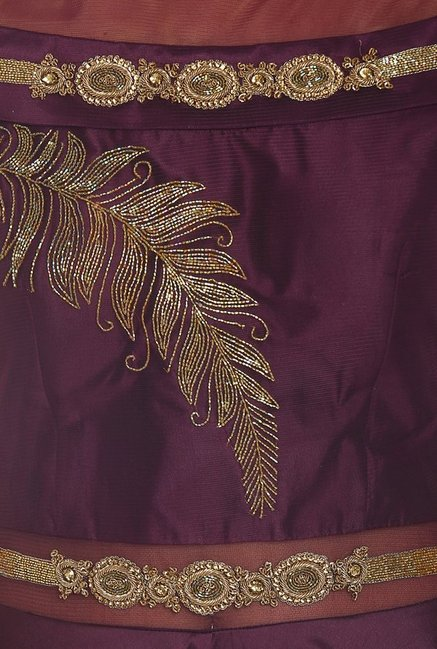 Soch Wine & Gold Embroidered Silk Suit Set