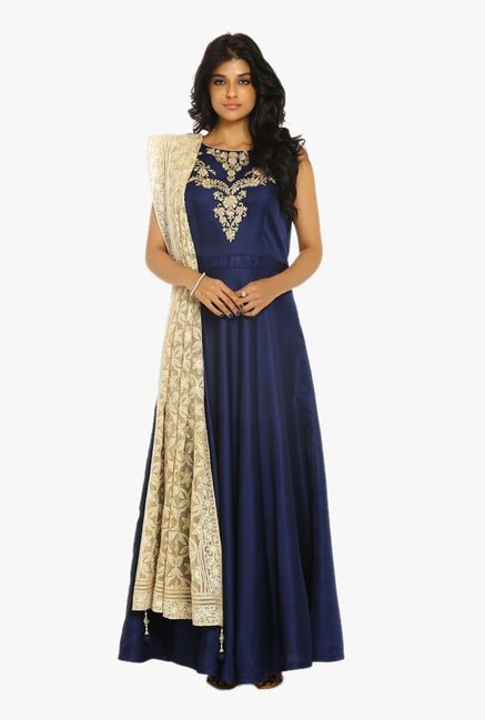 Soch Navy & Gold Embroidered Silk Suit Set