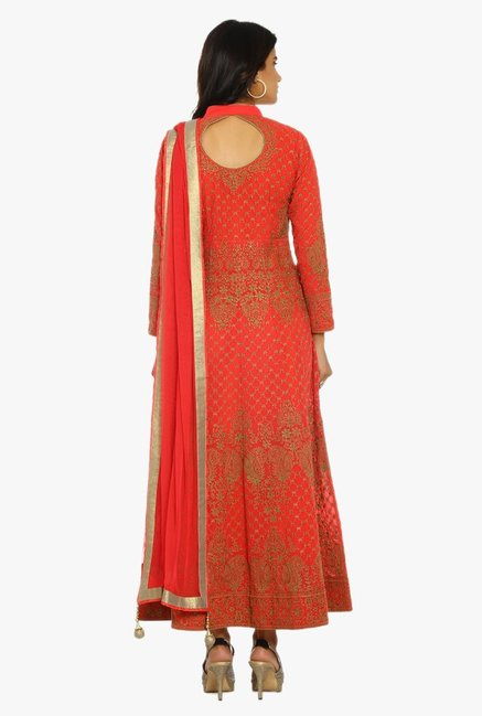 Soch Red & Gold Embroidered Georgette Suit Set