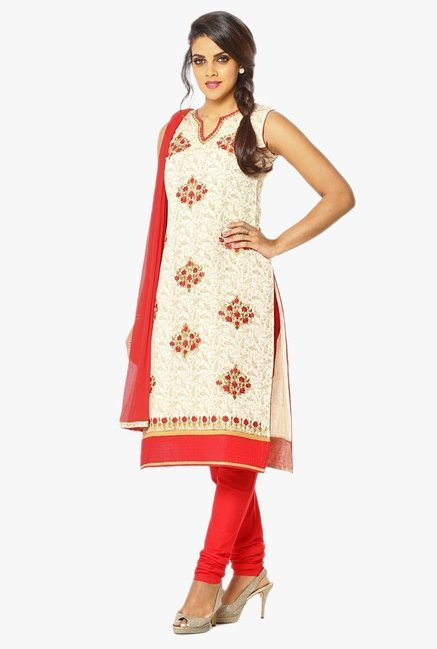 Soch Beige & Red Embroidered Chanderi Churidar Suit