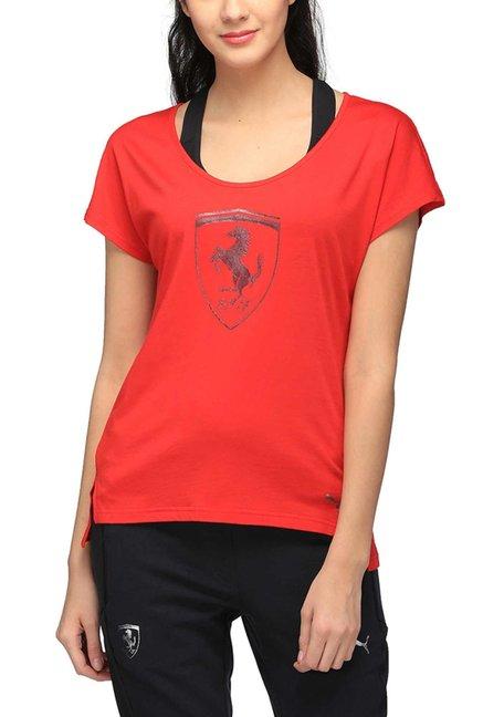 99ee726c1 Buy Puma Red Graphic Print Ferrari Big Shield T-Shirt for Women ...