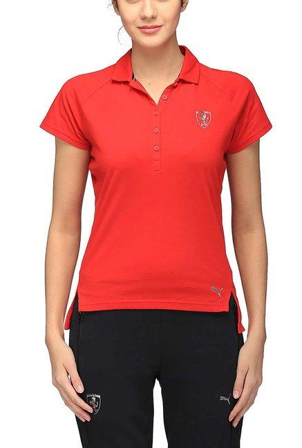 Buy Puma Red Short Sleeves Ferrari Polo T-Shirt for Women ...