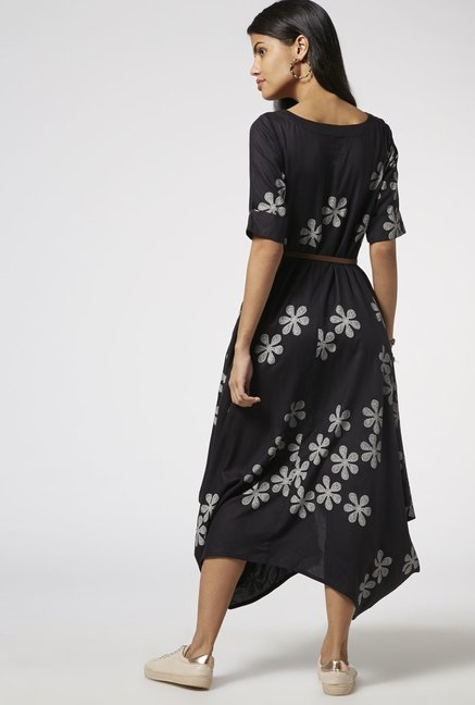 Bombay Paisley by Westside Black Dress with Belt