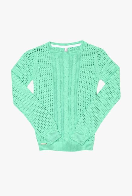 a1b94355b Buy US Polo Green Solid Sweater for Girls Clothing Online   Tata CLiQ