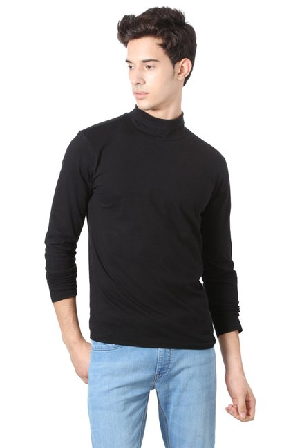 5635a0b271a3 Buy People Black Full Sleeves High Neck T-Shirt for Men Online @ Tata CLiQ