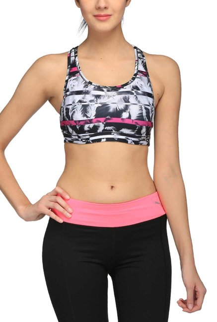 Buy Puma Black   White Printed PWRSHAPE Forever Sports Bra for Women Online    Tata CLiQ c653ee84db106