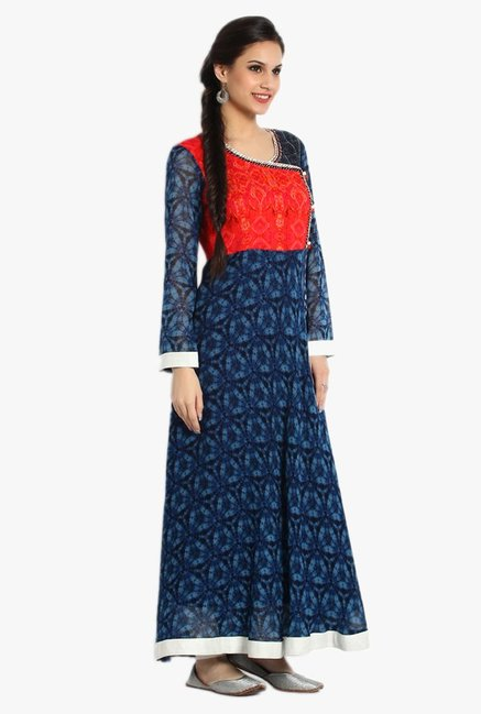 Soch Navy & Red Printed Georgette Kurta Set