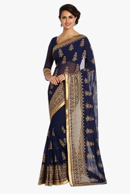 Soch Navy Embroidered Chiffon Saree