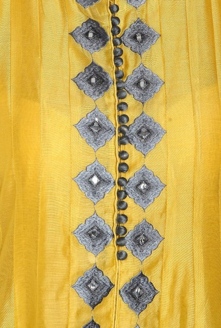 Soch Yellow & Grey Embroidered Chanderi Anarkali Suit