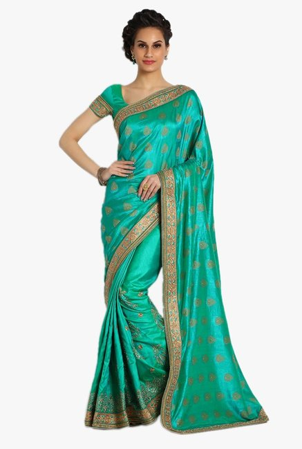Soch Green Embellished Silk Saree