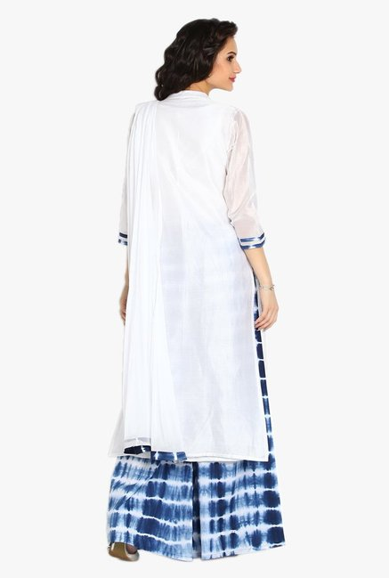 Soch White & Navy Chanderi Kurta With Palazzo