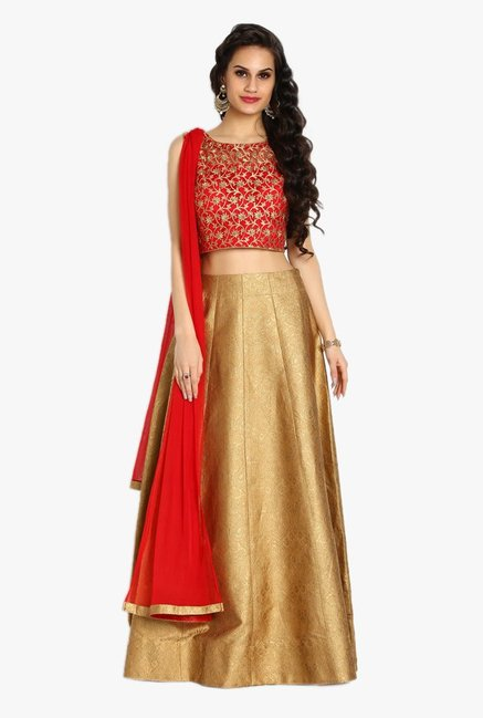Soch Red & Beige Embroidered Net Suit Set