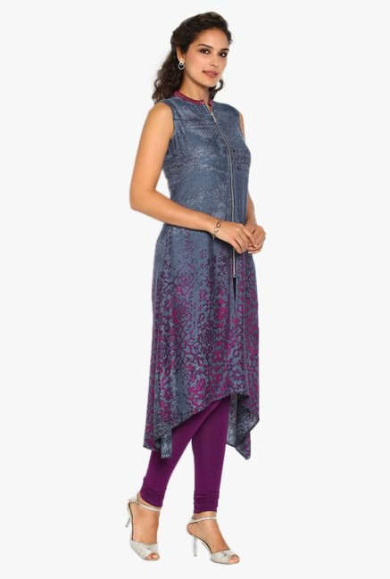 Soch Grey & Purple Printed Rayon Kurta