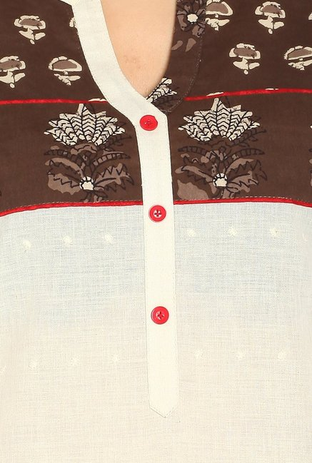 Soch Off White & Brown Printed Cotton Kurta