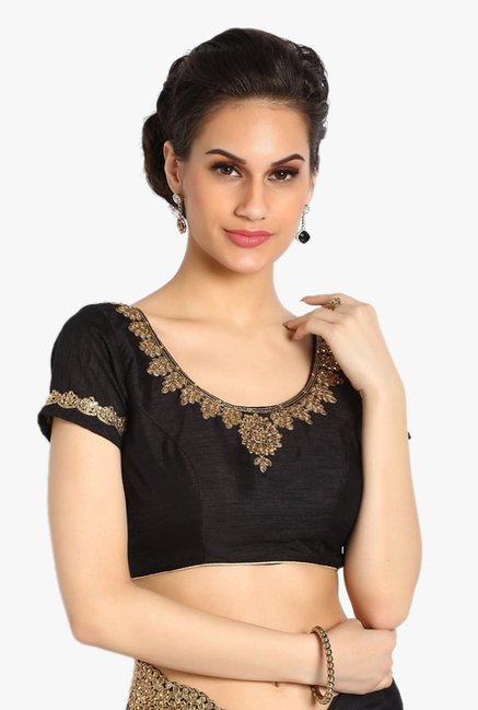 Soch Black Embellished Satin Saree