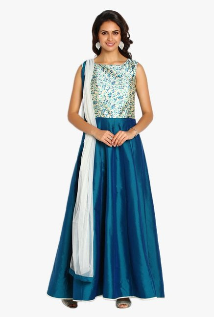 Soch Teal & Cream Printed Silk Anarkali Suit