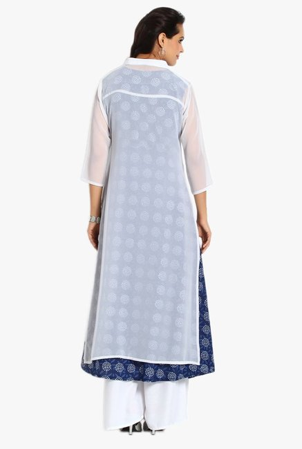 Soch White & Navy Printed Georgette Kurta With Palazzo