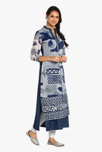 Soch Navy & White Printed Denim Kurta