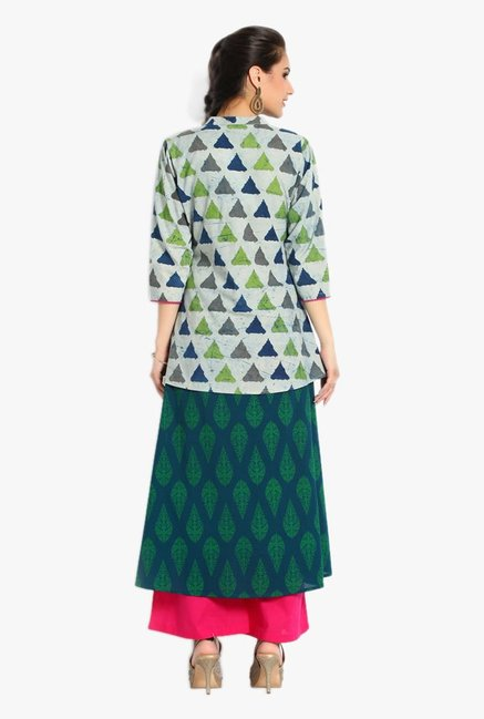 Soch Green & Pink Printed Cotton Kurta With Palazzo