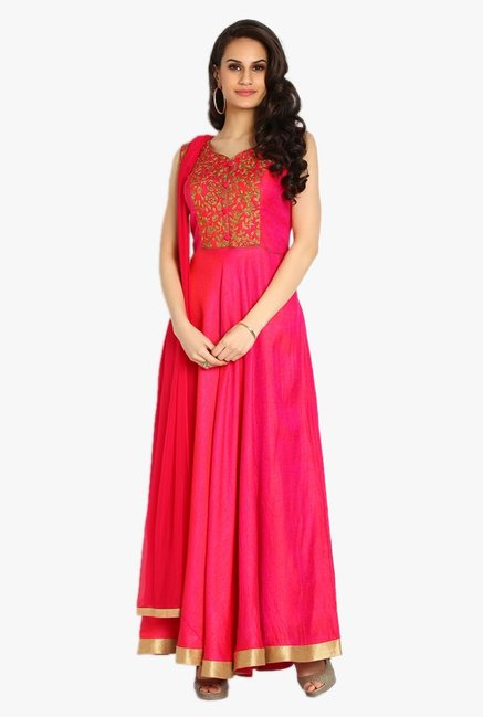 Soch Pink Embroidered Silk Anarkali Suit