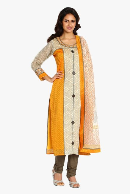Soch Beige & Olive Printed Chanderi Churidar Suit