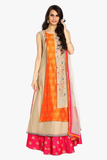 Soch Beige & Orange Embroidered Chanderi Anarkali Suit